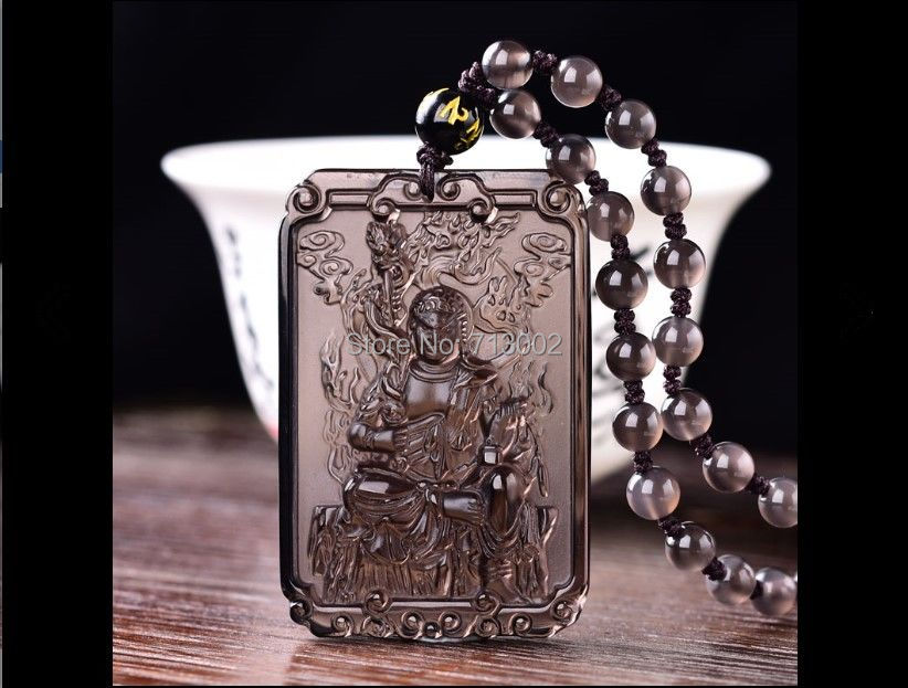 Real ice obsidian Buddha Amulet Acalanatha Pendant Bead Necklace TALISMAN For Cock year person
