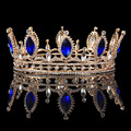 Jóia nupcial de luxo clássico do olho do cavalo de cristal azul strass tiaras coroas série casamento jóias da coroa HG00099