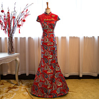 Evening dress 2019 long red bridal cheongsam wedding toast dress slim fishtail hosting banquet formal costume qipao