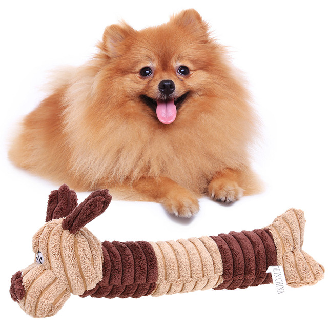Cute Dogs Shape Pet Dog Cat Biting Chew Bite Funny Plush Sound Squeak Toy Squeaking Animals Funny Pet Toy  27*8cm