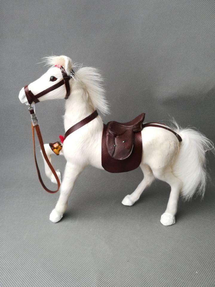 Jouet de la vie réelle lever la jambe cheval modèle environ 24x8x23 cm cheval blanc avec selle modèle dur ornement prop décoration cadeau h1499