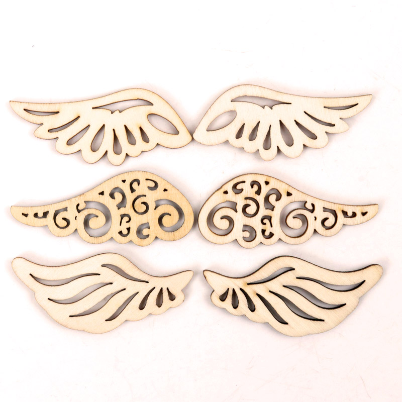 Wooden Cute Wing Shape Arts Painting Scrapbooking Embellishments Craft Handmade Home Decoration Accessories DIY 57mm 12pcs