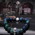 silver Skeleton Halloween Night Bracelet skull logo with 7mm beads top quality wild style Bracelet & Bangle free shipping