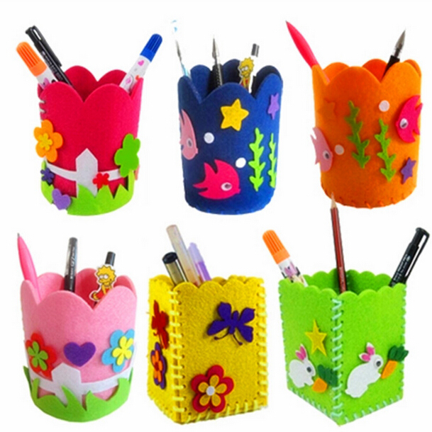 DIY Pencil Pot Pen Holder Kids Children Kindergarten Handwork Arts And Crafts Creativity Toys