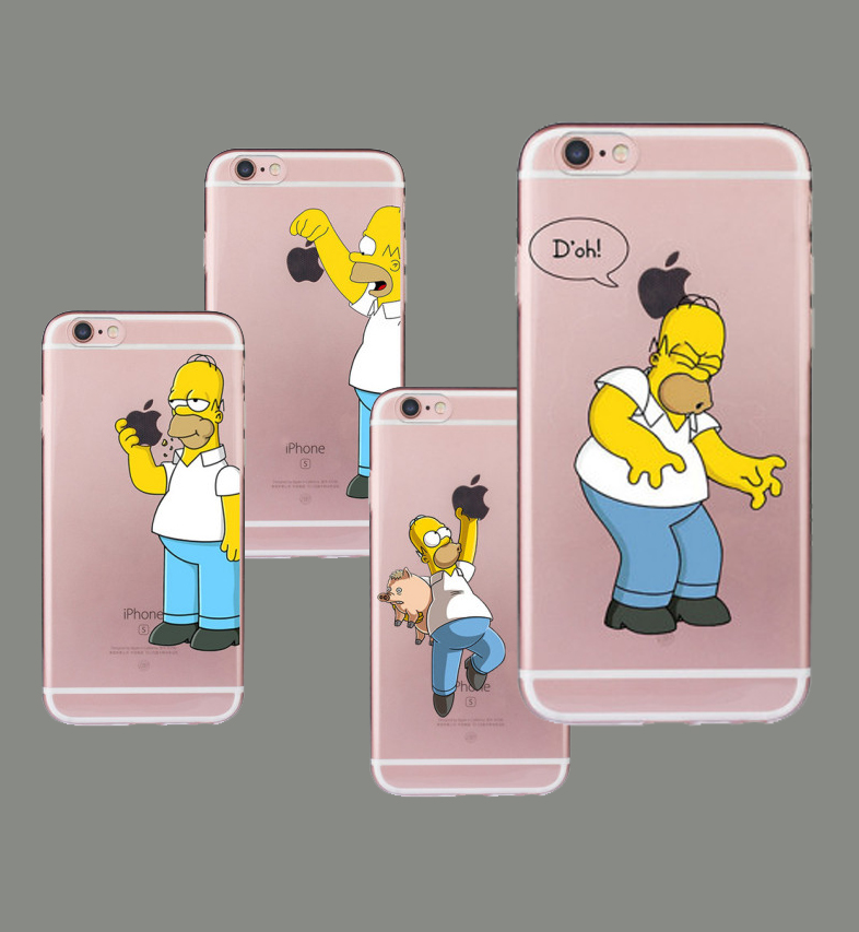 1PC Homer Simpson TPU Soft <font><b>Case</b></font> for <font><b>iPhone</b></font> 5 5S SE 5C 6 6S Plus 7 8 Plus X XS XR XSMAX <font><b>Funny</b></font> Fundas Silicon Transparent Coque image