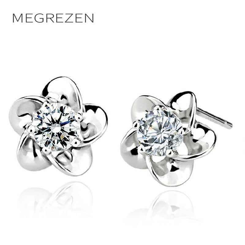 MEGREZEN Silver Stud Earrings For Girls Costume Jewelery Small Cubic Zirconia Flower Earrings Women Accessories Decorating B11-5
