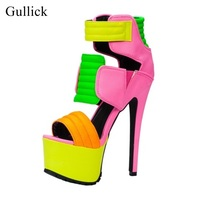 Gullick Brand Mixed Colors High Platform Sandals Cut out Strap Peep Toe Summer Dress Shoes Punk Style Night Club Dress Shoes