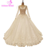Actual Image Lace Wedding Dresses 2017 Vintage Ivory Appliques Beaded See Though Tulle Puffy Princess Bridal A Line Long Sleeves