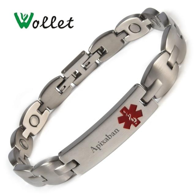 Rivaroxaban Lymphoedema Apixaban Diabetic Epilepsy Stainless Steel Magnetic Medical Alert ID Bracelet Bangle For Men Women