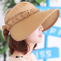 Women Big Brim Straw Sun Hats with Bow-tie Beach Cap Ventilate UV Blocking Solid Color Caps for Female Casual Summer Visor Cap