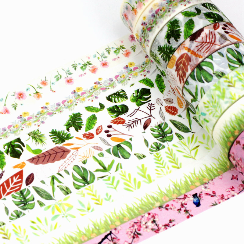 10m Decor Cute Washi Tape Leaves Set Green Pink Brown Plant Tropical Palm Leaf DIY Planner Masking Tapes School Office Supplies