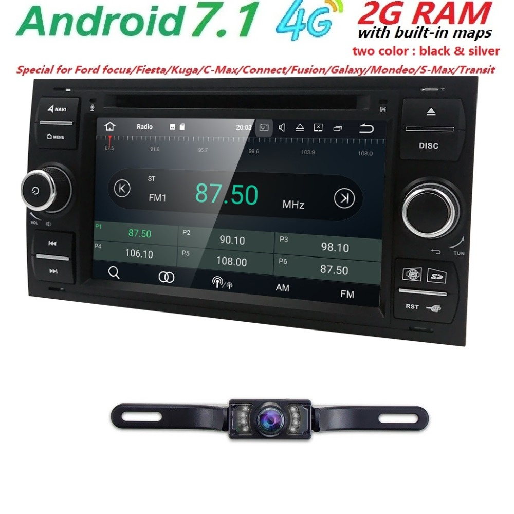 7inch 2 din car radio gps Android 7.1 Car dvd player For ford focus 2 Mondeo S C Max Fiesta Galaxy Navigation steering wheel Cam
