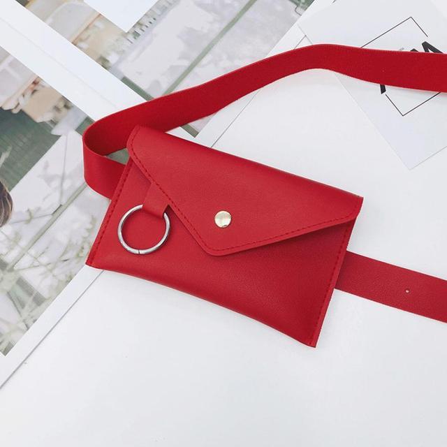 Fanny Pack Waist Bag Women Square Belt Buckle Leather Chest Envelope Phone Pouch Bag Ladies Women's Waist Pack Bolosa 2018