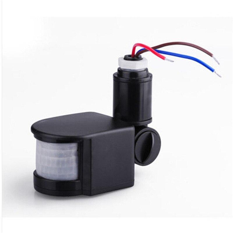newest abs adjustable led outdoor 220v infrared pir motion sensor detector wall light switch 12m - Motion Detector Lights