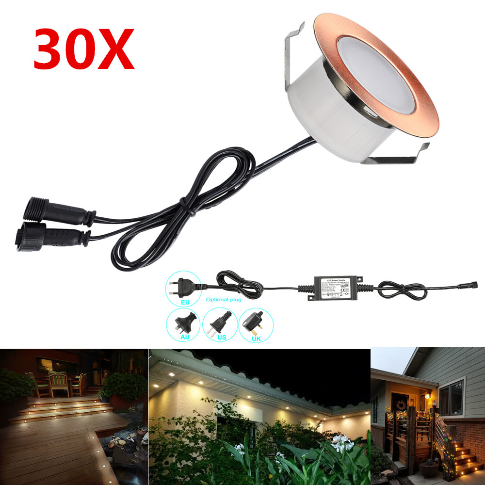30pcs/lot 47mm Coppering Warm White Waterproof Garden Terrace Inground Recessed Kitchen Led Deck Rail Step Stair Soffit Lights Aromatic Character And Agreeable Taste Led Underground Lamps