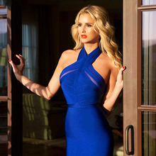 цена New Summer Evening Party Dresses Women 2019 Elegant Club Dress Sexy Vestidos Halter Neck Red Blue Bodycon Bandage Dress в интернет-магазинах
