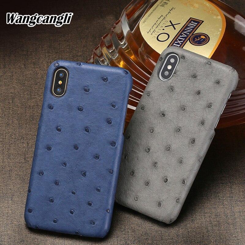 Wangcangli peau d'autruche étui de téléphone pour xiaomi 8 demi-pack coque de téléphone En Cuir Véritable étui de protection luxueux téléphone couverture arrière