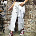 Free Shipping 2017 New Fashion Ninth Pants For Women Summer And Spring Loose Casual White Wide Leg Pants With Hole Jeans 26-31
