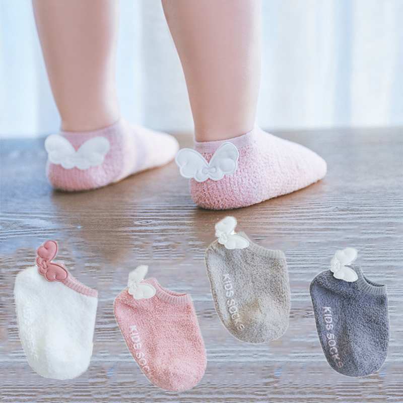 Cute Baby Anti Slip Socks Infant Baby Socks Girls Coral Fleece Angel Wings Short Floor Socks  Newborn High Quality Cotton