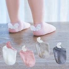 Cute baby Anti Slip Socks Infant Baby Girls Coral fleece Angel Wings Short Floor  Newborn High quality cotton