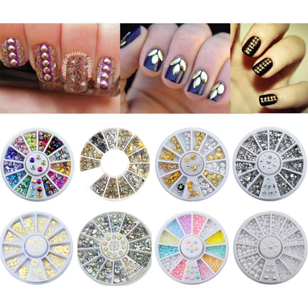 Aliexpress.com : Buy 1 Box Mixed Color Nail Rhinestone 3D