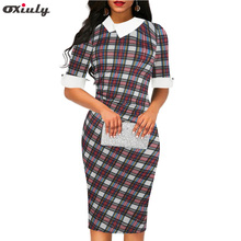 Oxiuly Spring Autumn Women Elegant Vintage Casual Half Sleeve Sheath Dress Female Colorful Plaid Print Bodycon Knee Length