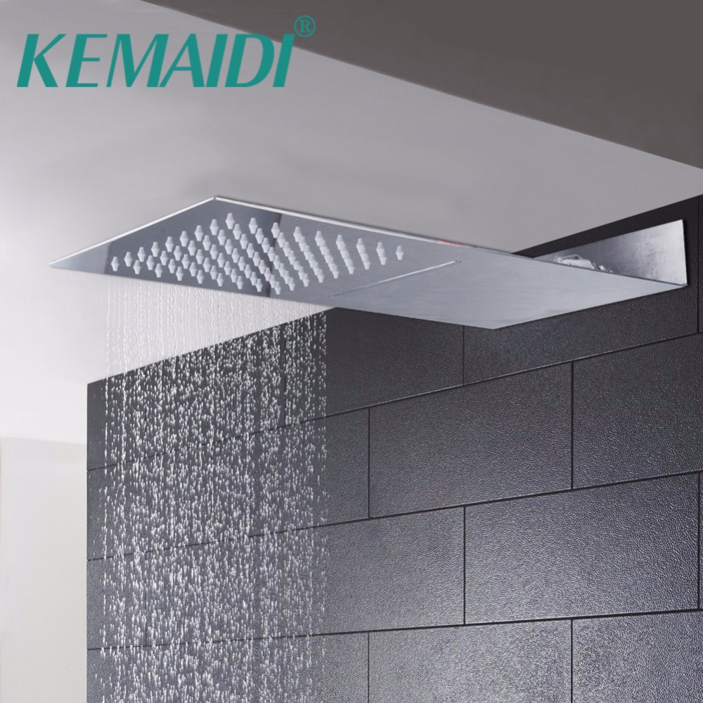 Bathroom Showerheads 8 Inch Rainfall Shower Head Rain Shower Chrome Finish Square Stainless Steel Ultra-thin Waterfall Shower