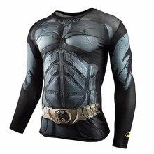 Gimnasios de Ropa Hombres de la Camisa de Compresión de Fitness Superman Batman invierno soldie Culturismo Crossfit Super Top de Manga Larga T Shirt 3D(China (Mainland))