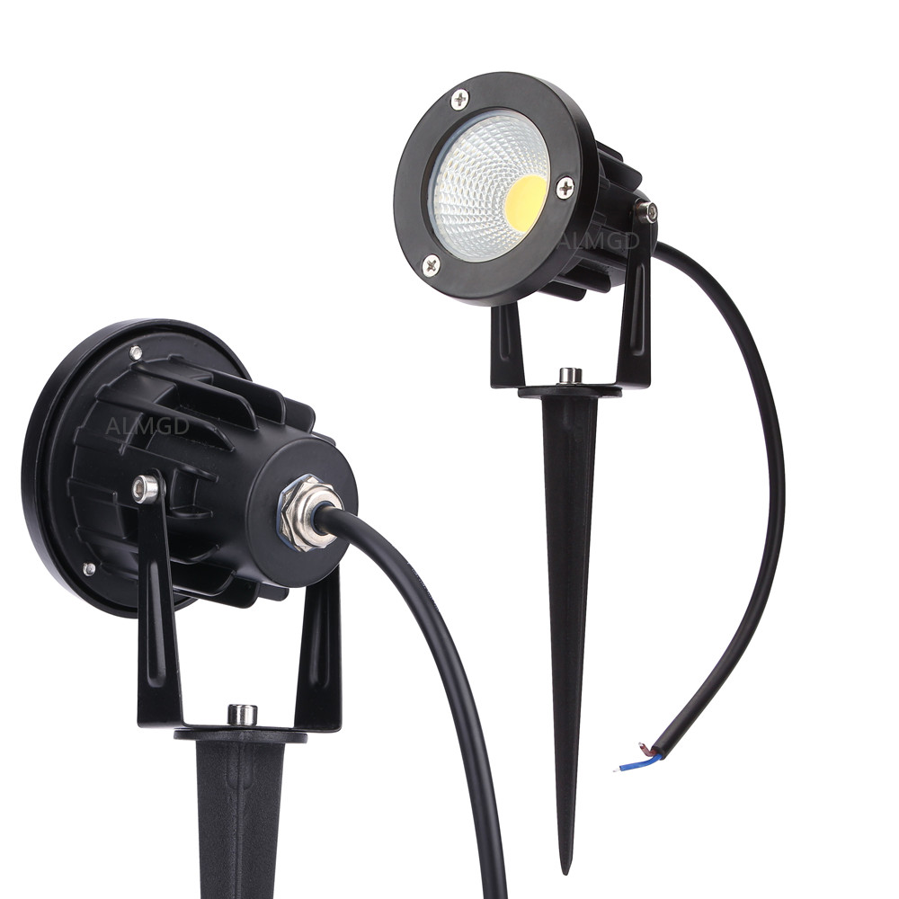 3W 5W 7W 9W สวนกลางแจ้งแสงแนวนอน 220V 110V 12V LED สนามหญ้าโคมไฟ COB โคมไฟกันน้ำ Led Light สวนเส้นทางสปอตไลท์-ใน โคมไฟสนามหญ้า LED จาก ไฟและระบบไฟ บน title=