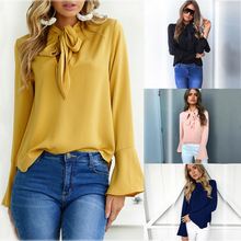2017 Autumn Blouse Women Flare Long Sleeve Bowknot Fashion Shirts Loose Casual Tops Office Shirt Blusa Work Blouses