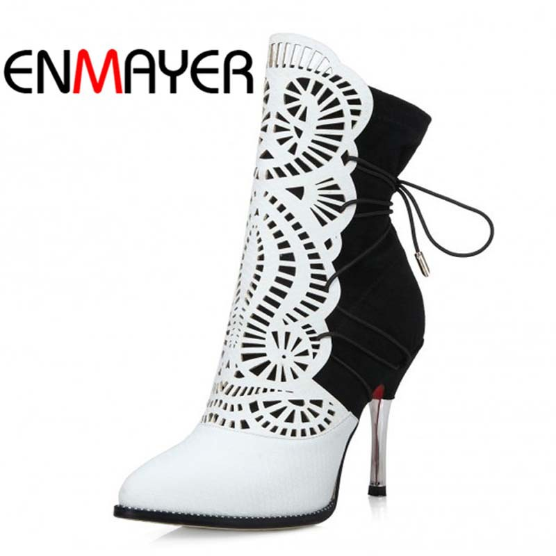 ФОТО ENMAYER Mixed Colors Pointed Toe Ankle Boots For women Thin Heels High Fashion Winter Boots Platform Boots high quality wedding