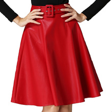 New Women  autumn winter midi skirt PU faux leather skirts womens pleated faldas ladies red black gray leather Skirt Saia A964