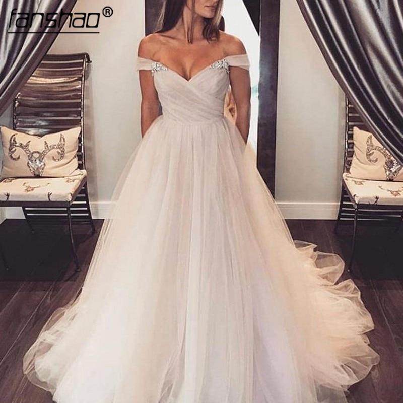 2019 Muslim Wedding Dress Simple Off The Shoulder Pleat Beads Dubai Arabic Wedding Gown Bridal Dress