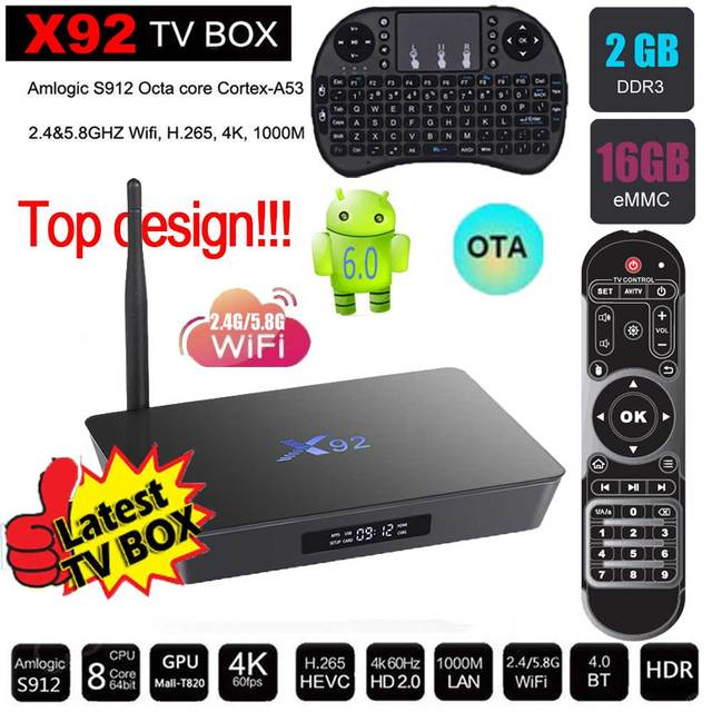 X92 2G 16G TV Box Amlogic S912 Android 6.0 octa-core 2.4 GHz/5.8 GHz WiFi 2.0a con USB 2.0 AV LAN HDMI Smart TV Cajas PK X96