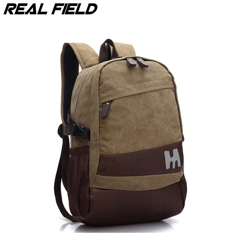 Real Field Men Canvas Backpacks Large Capacity travel bag Casual Laptop Cotton Bagpack Preppy style Mochila Daypack Bolsa 21 hot casual travel men s backpacks cute pet dog printing backpack for men large capacity laptop canvas rucksack mochila escolar
