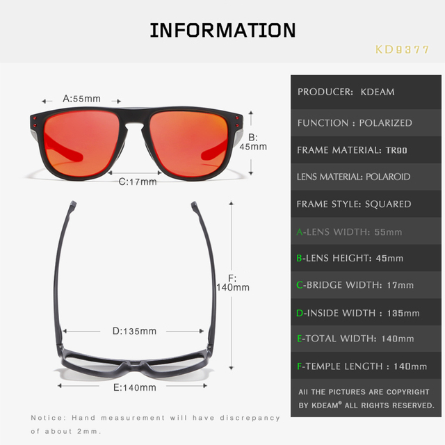 KDEAM KD9377 High Definition TR90 Polarized Sunglasses