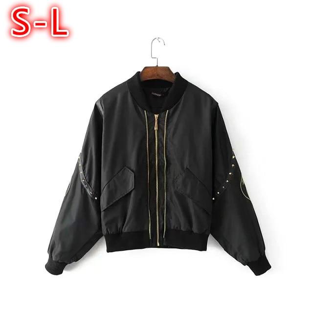 Bomber   jacket   Feminina Embroidery Rivet Women Coat Spring 2018 Casual Loose Zipper Long Sleeve Ladies   Basic     jackets   Black