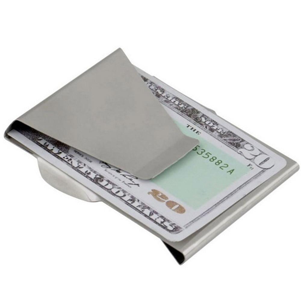 1 Pc Edelstahl Id Karte Ordner Doppelseitige Brieftasche Halter Schlank Money Clip Portefeuille En Acier Inoxydable Moderate Kosten