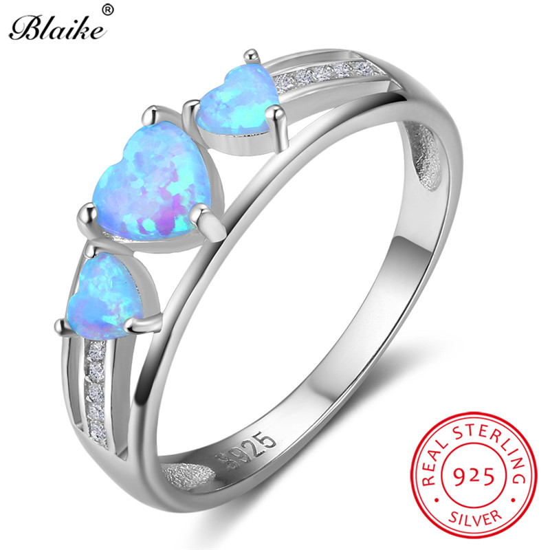 Blaike 100% Genuine S925 Sterling Silver Heart Opals Rings For Women  Crystal Blue Fire Opal Birthstone Wedding Fine Jewelry Gift-in Rings from  Jewelry ... 2d7ff9f9a394