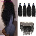 8A Grade Full Lace Frontal 13x4 Ear to Ear with Bundles Malaysian Kinky Curly Virgin Hair with Closure Malaysian Virgin Hair