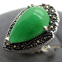 Wholesale Natural Green Jade Drop Gems 925 Sterling Silver Marcasite Ring Size 7 8 9 10