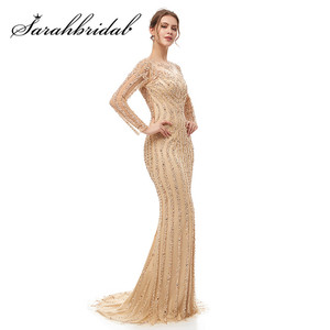 Image 4 - Luxe manches longues robes de soirée 2021 O cou Illusion fermeture éclair élégant sirène perles paillettes robe de bal avec Train CC5405