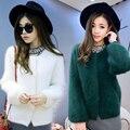 Macrotrichia marta terciopelo chaqueta de punto hembra de espesamiento térmico del diseño corto marta suéter de terciopelo o-cuello del color sólido de moda