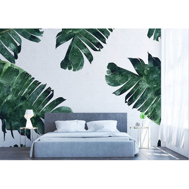 Us 16 71 45 Off Hotel Home Decor Wall Papers Green Banana Leaves Wall Painting Living Room Bedroom Wall Mural Self Adhesive Vinyl Silk Wallpaper In