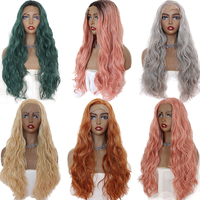 Oxeely Long Loose Wave Synthetic Lace Front Wig for Women Soft Hair Green/Black /Pink Hair Wig Heat Resistant Free Part