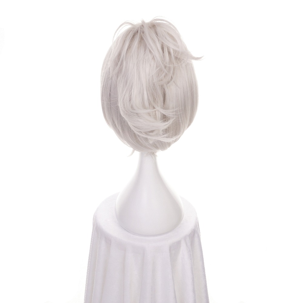 Synthetic Wigs Ccutoo 12 Lol Riven Silver White Short Synthetic Wig Cosplay Costume Wig With Chip Ponytail Heat Resistance Fiber