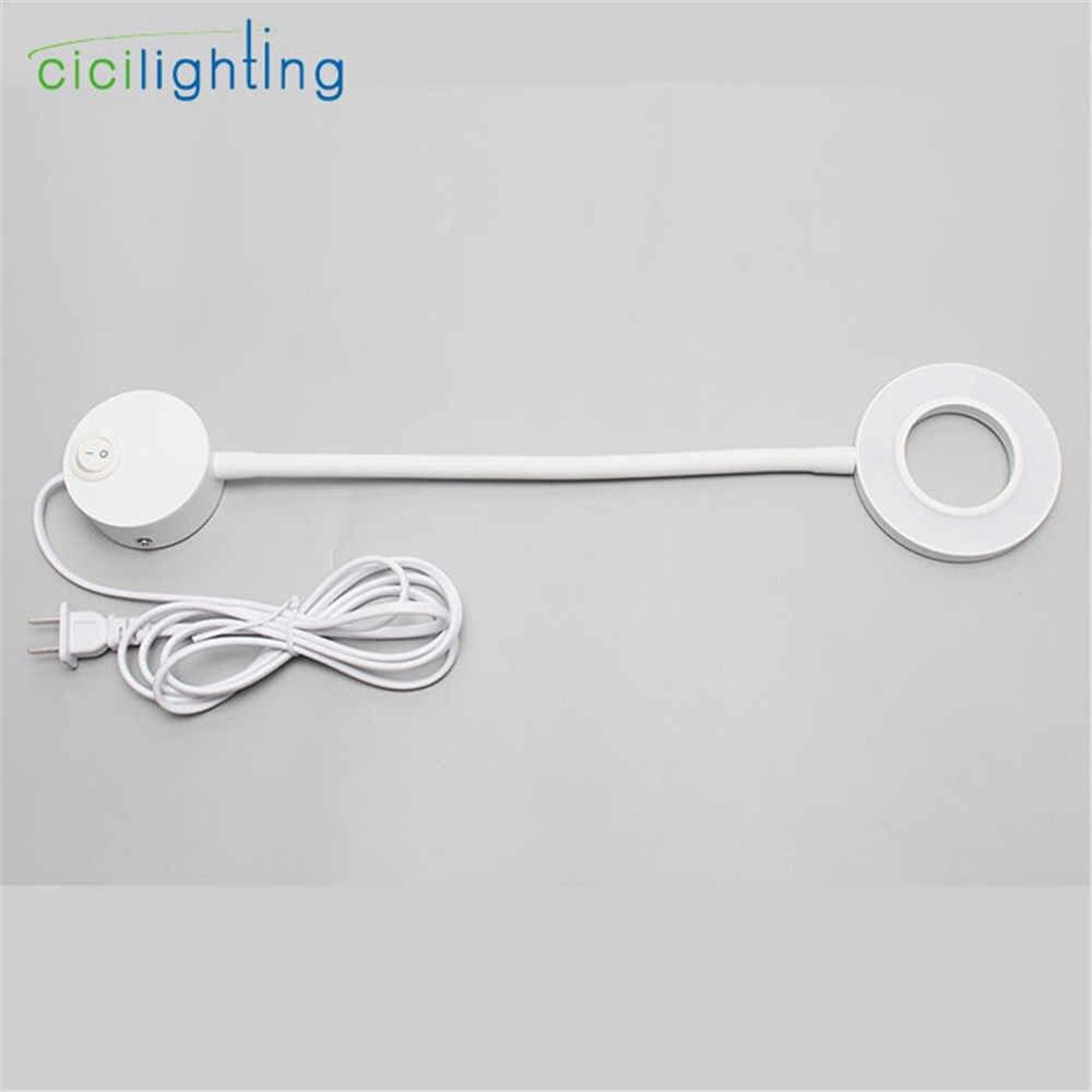 Штекер в 5 Вт светодиодный настенный светильник с зеркальной подсветкой с вилкой книжная лампа с кнопкой включения/выключения с s-образной гибкой трубкой черный белый