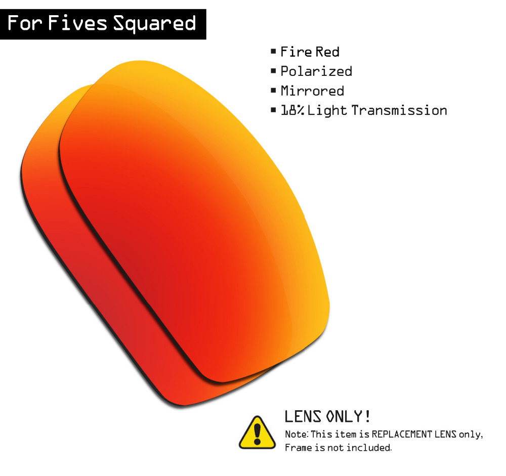 SmartVLT Polarized Sunglasses Replacement Lenses For Oakley Fives Squared - Fire Red