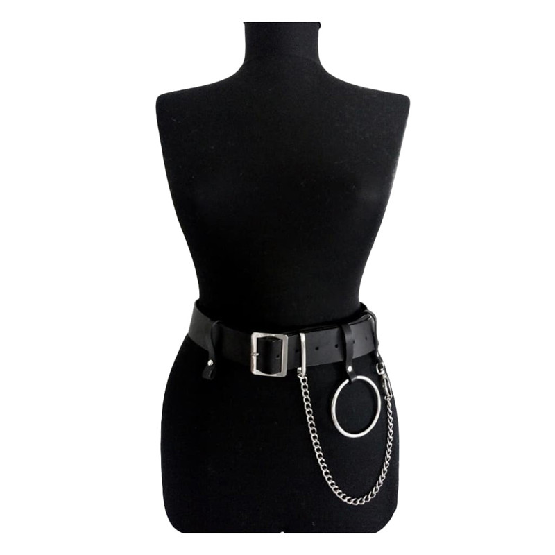 2019 Women Gothic Punk Waist Belt Chain Metal Circle Ring Design Silver Pin Buckle Leather Black Waistband Jeans Waist Belts