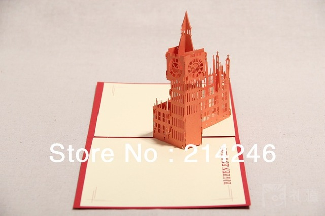 Free Shipping Fancy Creative Business Gift London Big Ben Origami Pop Up Cards Birthday 3D Greeting Wholesale